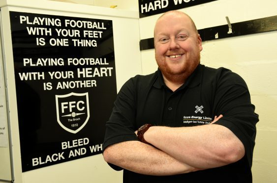 Pictured is Fraserburgh United FC Chairman, Finlay Noble at Bellslea Park, Fraserburgh.