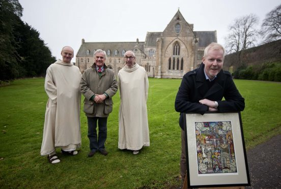 Artist Alan Dawson montage unveils his oil painting celebrating Pluscarden Abbey. In the photo from the back left Father Benedict Hardy, David Broadfoot  and Brother Michael de Klerk and Artist Alan Dawson.