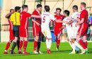 Aberdeen's Anthony O'Connor and Kaki Makharadze have an altercation.