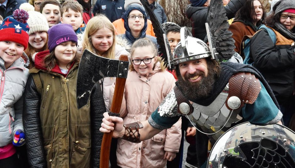Shetland - Up Helly Aa - 2018 - Tuesday morning - The parade. Guizer Jarl Stewart Jamieson. Picture by COLIN RENNIE  January 30, 2018.