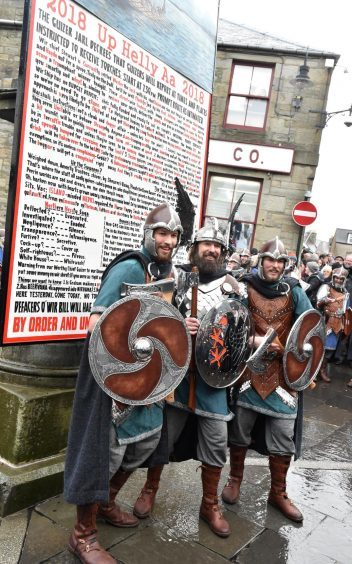 Shetland - Up Helly Aa - 2018 - Tuesday morning - The parade. Guizer Jarl Stewart Jamieson with sons Hayden and Shane. Picture by COLIN RENNIE  January 30, 2018.