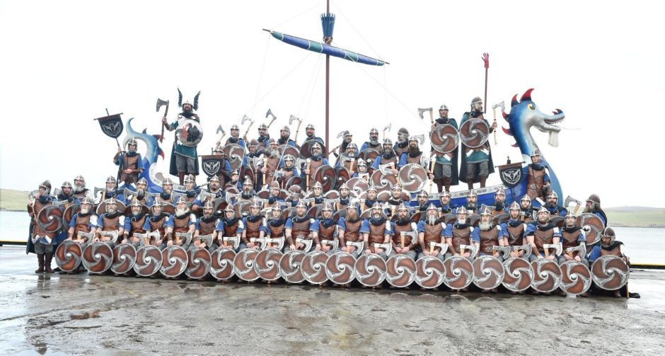 Shetland - Up Helly Aa - 2018 - Tuesday morning - The parade. The squad on the galley. Picture by COLIN RENNIE  January 30, 2018.