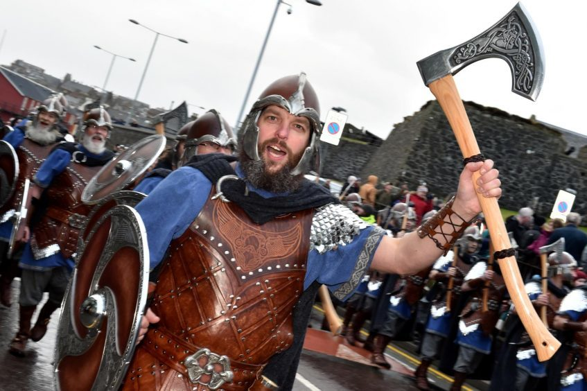 Shetland - Up Helly Aa - 2018 - Tuesday morning - The parade. Picture by COLIN RENNIE  January 30, 2018.
