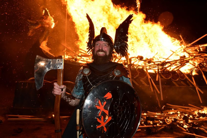 Shetland - Up Helly Aa - 2018 - Tuesday evening - The torch parade followed by the burning of the galley. Guizer Jarl Stewart Jamieson. Picture by COLIN RENNIE  January 30, 2018.