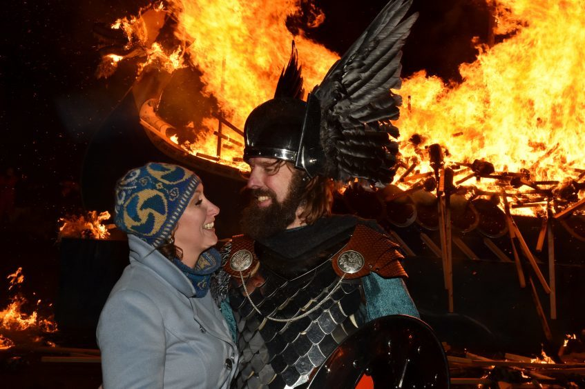 Shetland - Up Helly Aa - 2018 - Tuesday evening - The torch parade followed by the burning of the galley. Guizer Jarl Stewart Jamieson with wife Elaine. Picture by COLIN RENNIE  January 30, 2018.