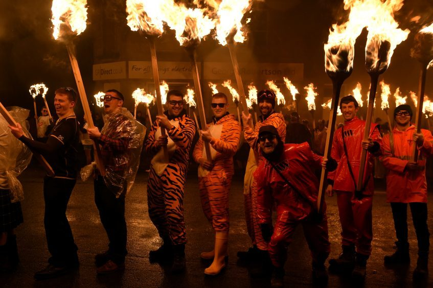 Shetland - Up Helly Aa - 2018 - Tuesday evening - The torch parade followed by the burning of the galley.  Picture by COLIN RENNIE  January 30, 2018.