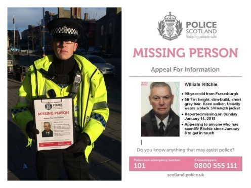 Police are distributing posters in Fraserburgh as searches continue for the pensioner.
