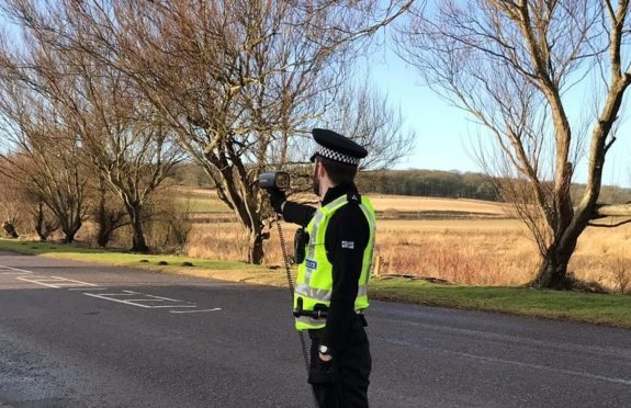 PC Kerr Baptie carrying out speed checks.