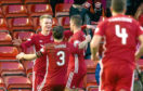 11/02/18 WILLIAM HILL SCOTTISH CUP 5TH RND   ABERDEEN v DUNDEE UNITED  PITTODRIE - ABERDEEN   Aberdeen's Gary MacKay-Steven (11) celebrates his goal with team mates