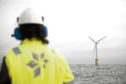 Hywind floating wind farm    taken from Statoil's Flickr page.   windfarm turbine