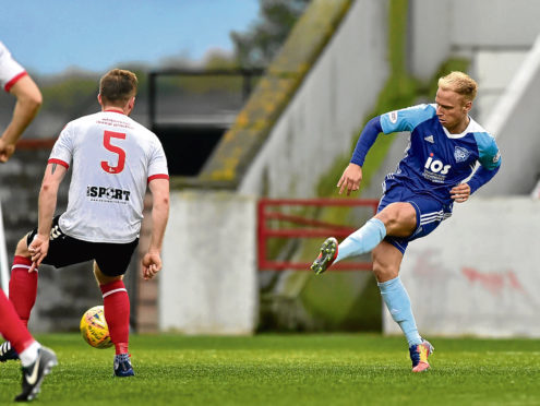 Jordon Brown moved from Peterhead to Cove Rangers in the summer.