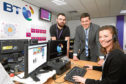 BT Alness visit by Jamie Hepburn MSP with apprentices, Craig Keys and Iona Clark.
