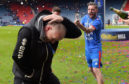 John Hughes is sprayed with champagne by captain Graeme Shinnie after ICT's cup triumph in 2015