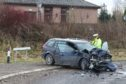 A car and a bus were involved in a crash closed to the A9 slip road in Inverness. Picture by Andrew Smith.