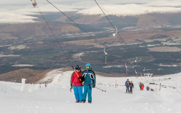 The Goose T-bar at Nevis Range, loaded with skiers taking advantage of the half price Sunday offer.
