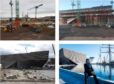 Various stages of the V&A Dundee construction, with architect Kengo Kuma outside the completed design