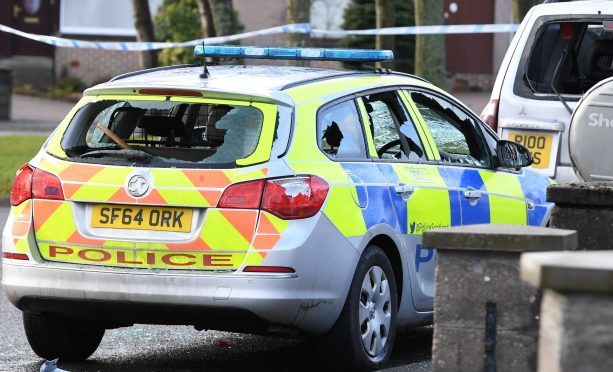 A police car was smashed in Dyce.
