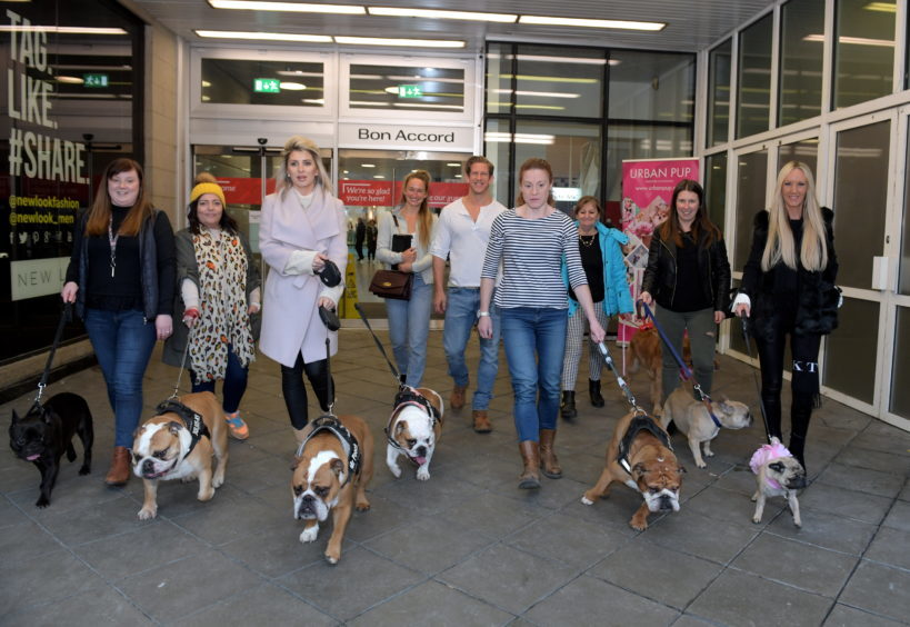 Legally Blonde dog auditions at the Bon Accord Centre. Pictured with hopefull applicants are the productions Helen Petrovna and David Barrett who are judging the dogs. 15/02/18. Picture by KATH FLANNERY