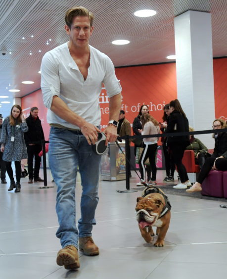 Legally Blonde dog auditions at the Bon Accord Centre. Pictured is David Barrett with one of the dogs. 15/02/18. Picture by KATH FLANNERY