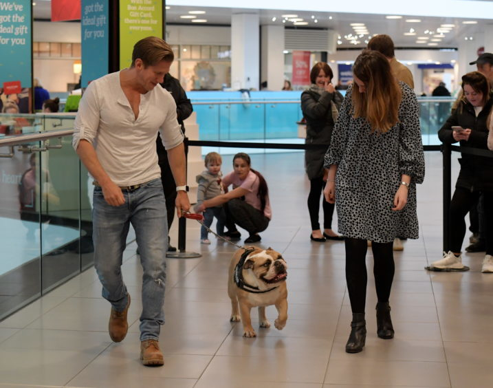Legally Blonde dog auditions at the Bon Accord Centre. Pictured are David Barrett and Bethany Hogg with Squire. 15/02/18. Picture by KATH FLANNERY