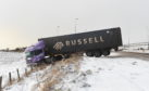 A lorry on the A90 has skidded off road and jackknifed due to the weather conditions.