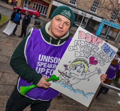 Moray Unison member Ewan McNeil opposed the cuts last year at a protest
