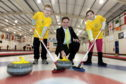 Archie Foundation are the charity partner for the World Junior Curling Championships that is being held at Curl Aberdeen. Picture of patients Kyran Prentce, 10, and Lauran Bramman, 10 with Jamie Smith (Archie Fundraising Manager)   Picture by KENNY ELRICK     14/02/2018