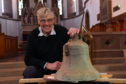 St James' Church in Stonehaven, is launching a crowd funding campaign to re-instate the recently discovered church bell.  They are hoping it will be back in working order in time for the 100th anniversary of the armistice in November. Picture of David Fleming with the bell.  Picture by KENNY ELRICK     22/02/2018