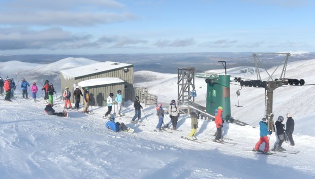 Skiers on the slopes at the Cairngorm Mountain. Photo by Sandy McCook