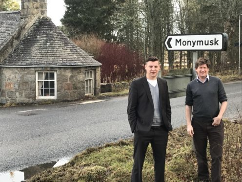 """Aberdeenshire councillor Robbie Withey and Aberdeenshire West MSP Alexander Burnett at the """"very dangerous"""" B993 junction"""