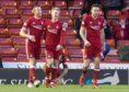 Aberdeen's Gary Mackay-Steven celebrates his goal  with Adam Rooney.