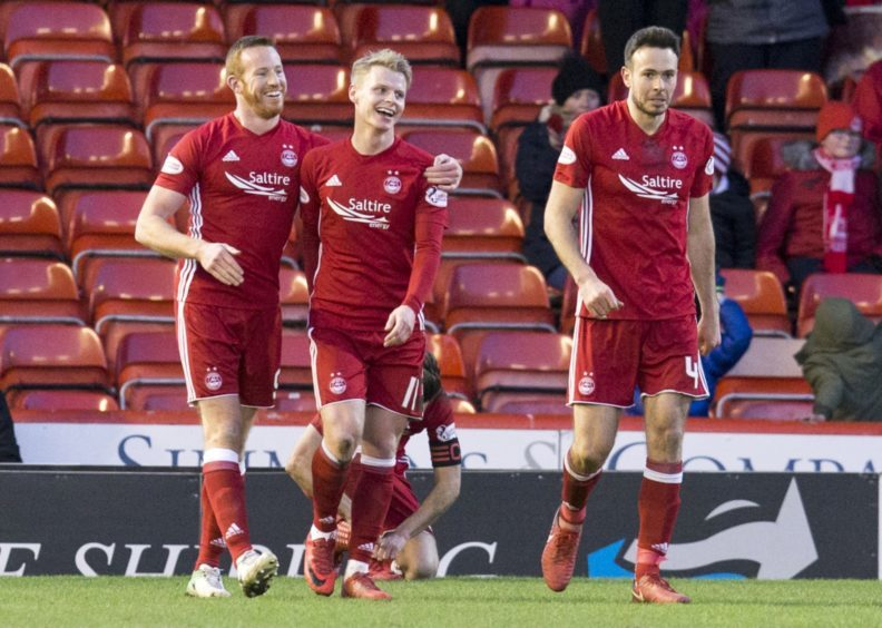 Aberdeen's Gary Mackay-Steven celebrates his goal  with Adam Rooney.