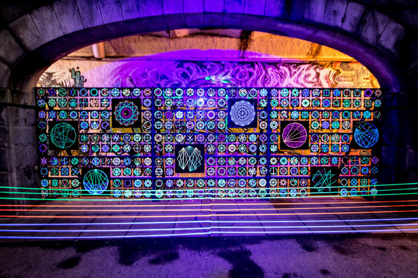 The display of UV artwork called 'Parabola' which was done by local school children