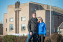 Husband and wife team Jason and Jill Fletcher from Sfear Kickboxing outside Lossiemouth's Grampian Furnishers.