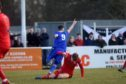 Cove's Mitch Megginson celebrating after scoring an equaliser for his side to make it 1-1 Pictures by Darrell Benns