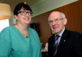 Prostate cancer survivor, George Stevenson visits consultant, Justine Royale at the UCAN charity centre ARI, Aberdeen