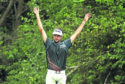 Bubba Watson of the United States reacts on the third green during his final round match against Kevin Kisner of the United States in the World Golf Championships-Dell Match Play at Austin Country Club on March 25, 2018 in Austin, Texas.