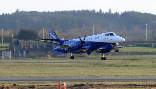 An Eastern Airways plane at Aberdeen Airport.