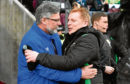 Hearts manager Craig Levein (L) with Hibernian manager Neil Lennon