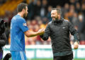 Aberdeen's Derek McInnes (R) and Andy Considine at full-time.