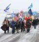 Protesters who marched at Culloden Battlefield.