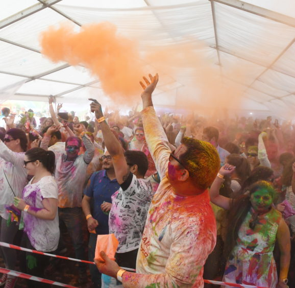 "The Holi Mela at Westhill. Pictured are the ""Colours"". Pic by Chris Sumner Taken 24/3/18"