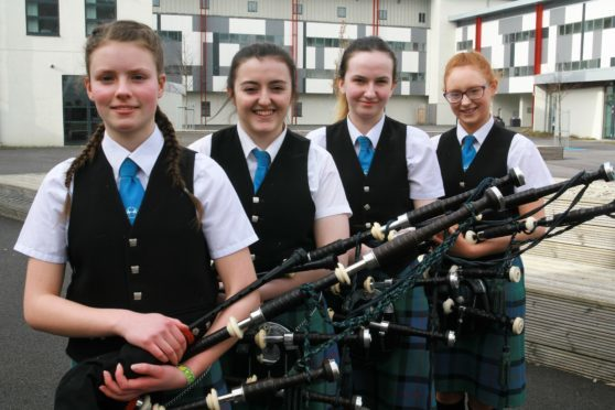 Winners of the Bagpipe Quartet 18 years and Under at The Lochaber Music Festival Lochaber High School Quartet
