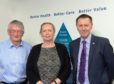 Pictured outside the board meeting are NHS Highland's chair David Alston, chief executive Professor Elaine Mead and UHI principal and vice-chancellor Professor Clive Mulholland