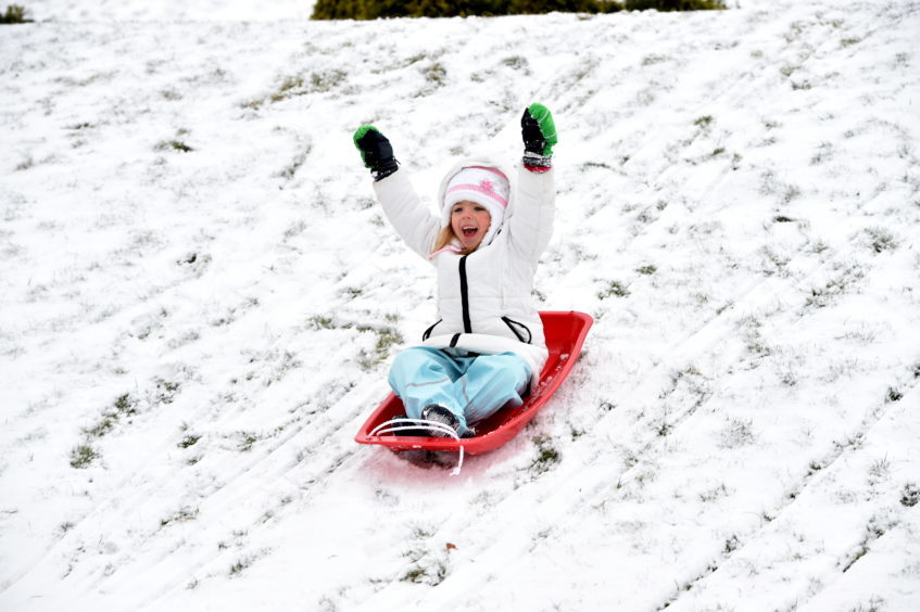 Weather snow 'The Beast from the East'.Picture of Ella-Marie Milne, 5, at Duthie Park.
