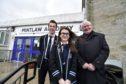 Cllr Norman Smith with Mintlaw Academy Head Boy Alastair Strachan and Deputy Head Girl Emily Findlay.