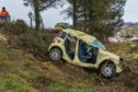 An 88-year-old woman has died after her crashed off the side of the B9117.