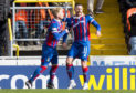 Iain Vigurs celebrates after making it 1-0 Inverness.