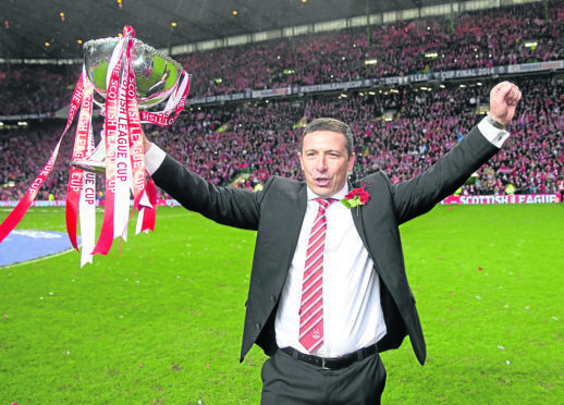 Aberdeen manager Derek McInnes during the Scottish League Cup Final at Celtic Park, Glasgow.