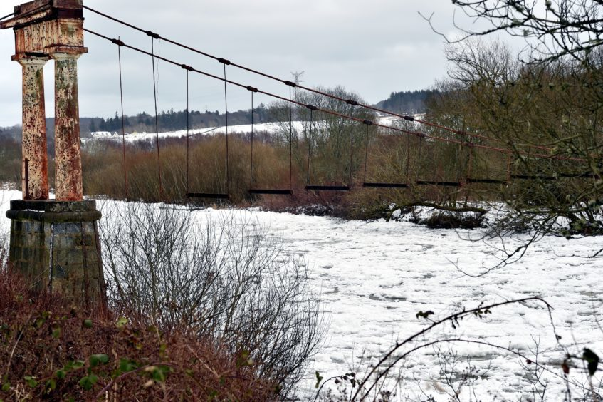 The Beast from the East - Ice covers the River Dee at the historic Shakkin Briggie - St. Devenick's Bridge which was a suspension footbridge which crosses the River Dee from Ardoe to Cults.